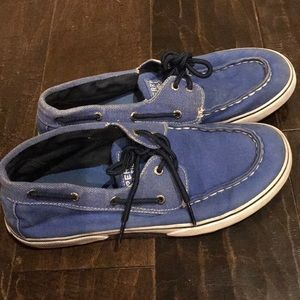 Sperry Top Sider blue canvas size 5.5 boys shoes